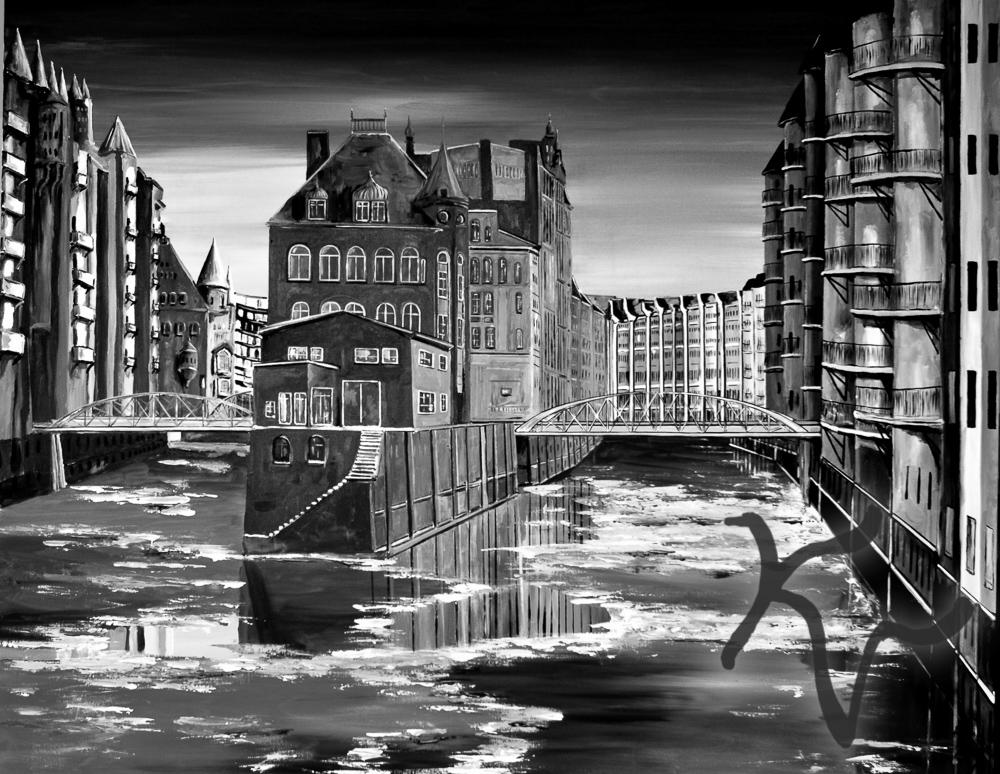 Hamburg Speicherstadt Schwarz-Weiß